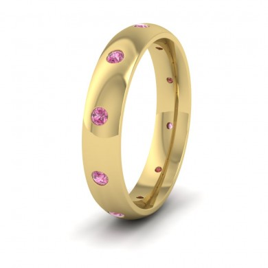 Ten Pink Sapphire Set Flush 9ct Yellow Gold 4mm Wedding Ring