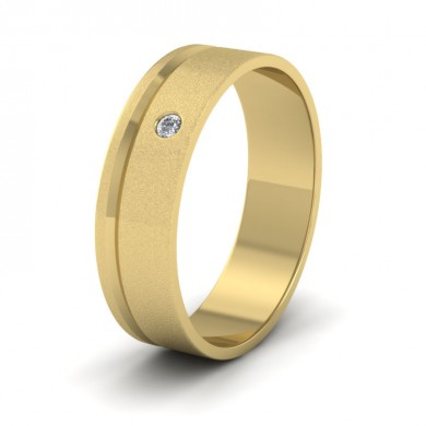 Diamond Set And Assymetric Line Patterned 18ct Yellow Gold 6mm Wedding Ring