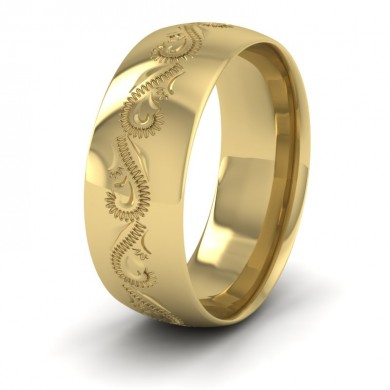 Engraved 18ct Yellow Gold 8mm Wedding Ring