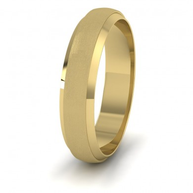 Flat Edge Patterned And Matt Finish 18ct Yellow Gold 5mm Wedding Ring