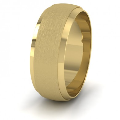 Flat Edge Patterned And Matt Finish 22ct Yellow Gold 8mm Wedding Ring