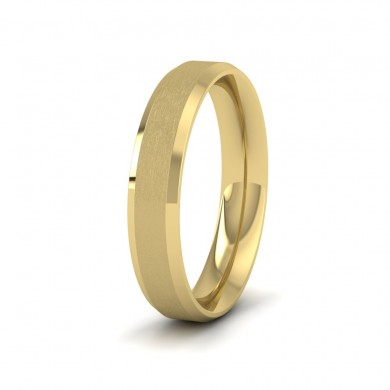 Bevelled Edge And Matt Finish Centre Flat 14ct Yellow Gold 4mm Wedding Ring