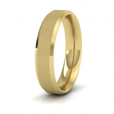 Bevelled Edge And Matt Finish Centre Flat 14ct Yellow Gold 5mm Wedding Ring