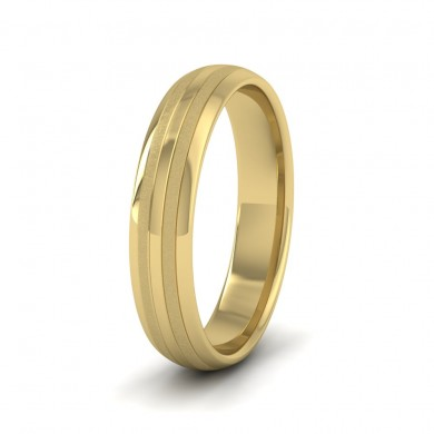 Four Line Pattern With Shiny And Matt Finish 9ct Yellow Gold 4mm Wedding Ring