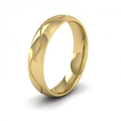 Wave Patterned 22ct Yellow Gold 5mm Wedding Ring