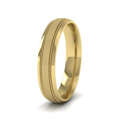Millgrain And Contrasting Matt And Shiny Finish 9ct Yellow Gold 4mm Wedding Ring