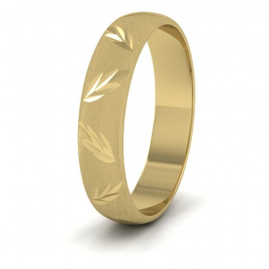 Leaf Cut Pattern 18ct Yellow Gold 4mm Wedding Ring