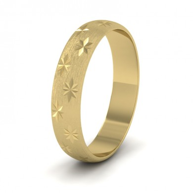 Star Patterned 14ct Yellow Gold 4mm Wedding Ring