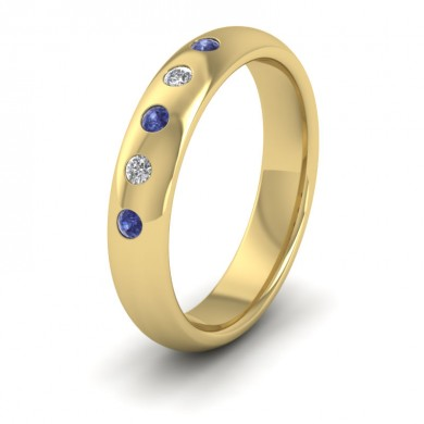 Blue Sapphire And Diamond Flush Set 14ct Yellow Gold 4mm Wedding Ring