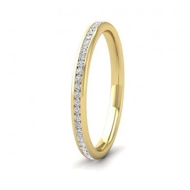 Full Channel Set 0.26ct Round Brilliant Cut Diamond 9ct Yellow Gold 2mm Ring