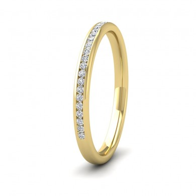 Half Channel Set 0.13ct Round Brilliant Cut Diamond 9ct Yellow Gold 2mm Ring
