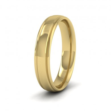 Edge Line Patterned 18ct Yellow Gold 4mm Wedding Ring