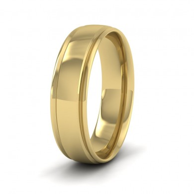 Edge Line Patterned 18ct Yellow Gold 6mm Wedding Ring