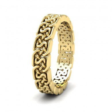 Open Celtic Patterned 9ct Yellow Gold 4mm Wedding Ring