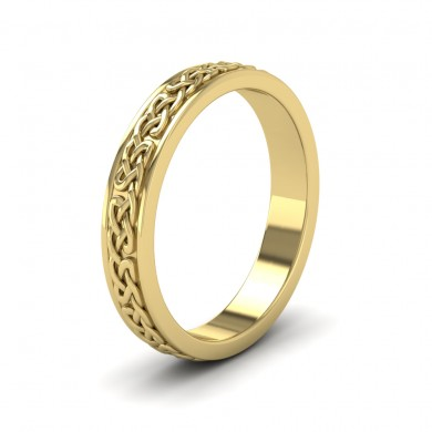 Celtic Pattern With Edge Flat 9ct Yellow Gold 4mm Wedding Ring