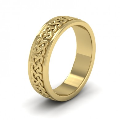 Celtic Pattern With Edge Flat 9ct Yellow Gold 6mm Wedding Ring