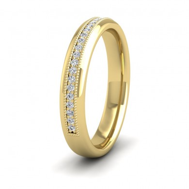 Half Set Ring With Round Brilliant Cut Diamonds With Set In Millgrain Surround (0.14ct) 18ct Yellow Gold 3.5mm Ring