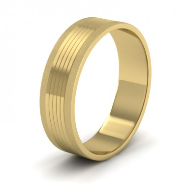 Grooved Pattern 18ct Yellow Gold 6mm Flat Wedding Ring