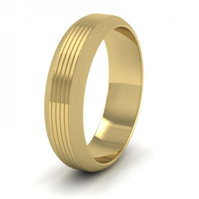 Grooved Pattern 18ct Yellow Gold 6mm Wedding Ring