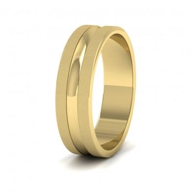 Bullnose Groove Pattern Flat 18ct Yellow Gold 6mm Flat Wedding Ring