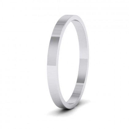 925 Sterling Silver 2mm Flat Shape Classic Weight Wedding Ring