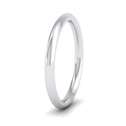 950 Platinum 2mm Court Shape (Comfort Fit) Super Heavy Weight Wedding Ring