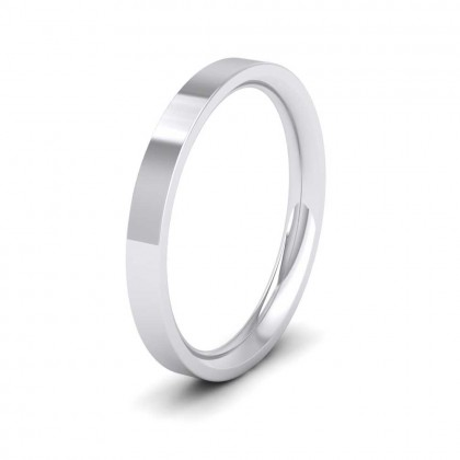 950 Platinum 2.5mm Flat Shape (Comfort Fit) Extra Heavy Weight Wedding Ring