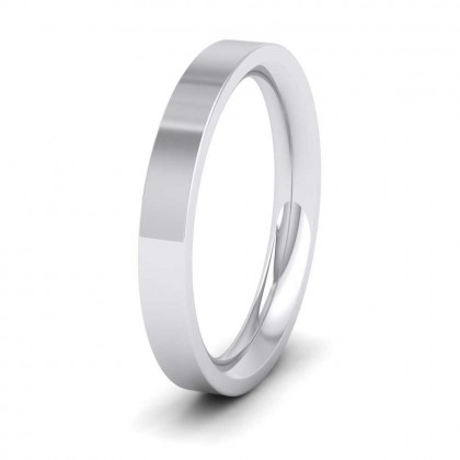 950 Platinum 3mm Flat Shape (Comfort Fit) Super Heavy Weight Wedding Ring