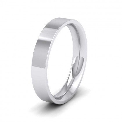 950 Platinum 4mm Flat Shape (Comfort Fit) Extra Heavy Weight Wedding Ring