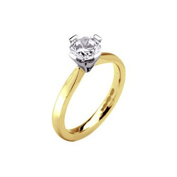 366f654d44f 18ct Yellow and White Gold Four Claw Brilliant Cut Half Carat Diamond  Solitaire Ring With Comfort Fit Band, 3.8g | DotJewellery.com