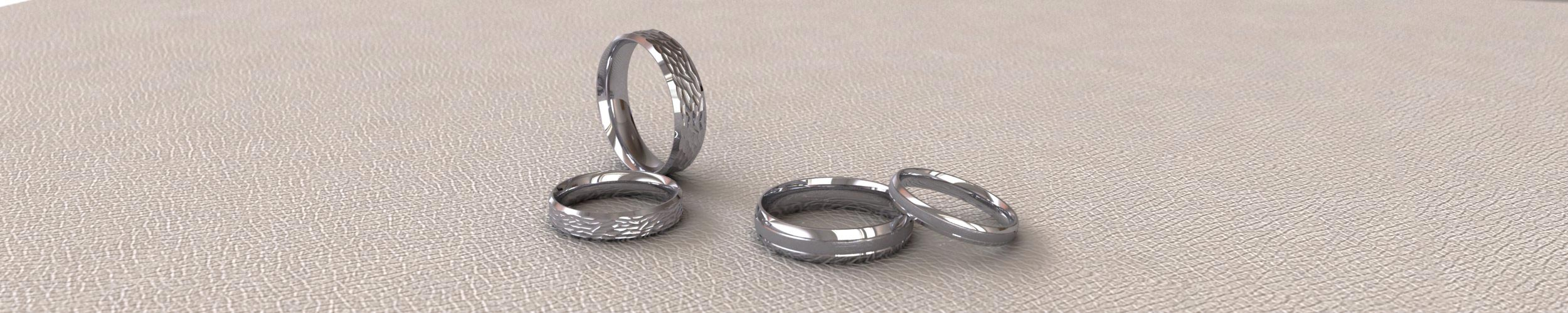 White Gold Patterned Wedding Rings