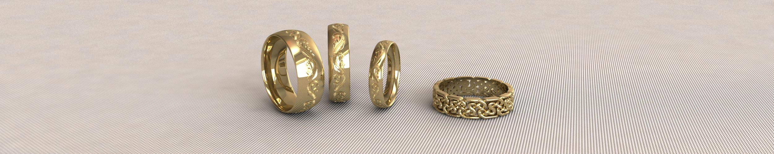 Yellow Gold Patterned Wedding Rings