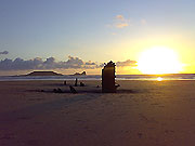 Sunset over the wreck of the 'Helvetia' - Rhossili Bay